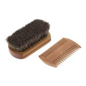Anself Men's Beard Brush & Comb Kit Horse Hair Moustache Shaving Brush Golden Sandalwood Beard Comb Male Facial Hair Brush Set