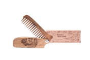 Wooden Folding Beard Comb by Enjoy The Wood - moustache comb - Anti-Static Wooden Folding Comb for Men with Real man engraving. Great with beard Balm. Grooming kit Pocket