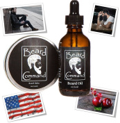 Beard Balm And Beard Oil - Moustache Wax - Beard Butter - by Beard Command | 60ml + 60ml | Natural Conditioner for Faster Facial Hair Growth - Grooming Care Products - Gift Set