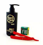 RedOne Clear Shaving Gel for Men, Full Red Zeepk Shaving Razor, 100 Derby Blades Shaver Replacement Bump Free Shave