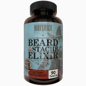Maverick Essentials Beard + Moustache Supplements for Men – Thicker, Fuller, Faster Hair Growth Product – Effective Mens Formula Beard Vitamins to Strengthen Facial Hair Growth – 90 Vegan Pills