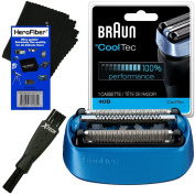 Braun 40B Replacement Shaving Foil Head & Cutter Cartridge for ºCoolTec CT2s, CT2cc, CT3cc, CT4s, CT4cc, CT5cc & CT6cc Shavers + Double Ended Shaver Brush + HeroFiber Ultra Gentle Cleaning Cloth