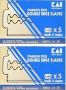 KAI Stainless Steel Double Edge Safety Razor Blades, 10 blades