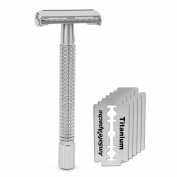 Double Edge 10cm Long Handle Safety Razor Twist Butterfly Open Chrome Matte Finish