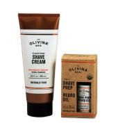Olivina Men 2-in-1 Shave Prep Beard Oil and Flash Foam Shave Cream Set