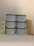 Satin Smooth Zinc Oxide Wax 6 Pack + Free 100 pc Muslin Strips & 50 Large Applicator Sticks $12 Value