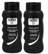 Herban Cowboy Deodorising Body Wash, Sport, (Pack of 2) with Coco-Betaine and Zinc Citrate, 530ml