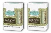 Living Clay Fresh Mint Bar Soap (Pack of 2) with Natural Calcium Bentonite Clay, Sea Salt, Herbs, Olive Oil, Palm Oil, Coconut Oil and other Essential Oils, 120ml
