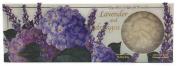Saponificio Artigianale Fiorentino Lavender and Hydrangea Italian Soap - 3 Floral Carved Soaps, 130ml Each