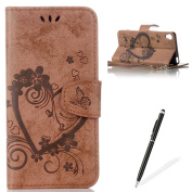 Feeltech Sony Xperia XA Flip case, Luxury Embossed Heart Butterfly Series Design Pattern Premium Ultra Slim PU Leather Wallet Cover [With Free Stylus Pen] Magnetic Clasp Closure Soft TPU Inner Bumper Built-in Foldable Stand Function Pocket Card Slots I ..