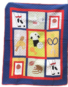 Sports Quilts For Boys, Patchwork Quilt Style, White Reverse, 100% Cotton, 61 x 50 , Sport Theme