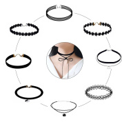 NEW RETAIL LI 9 PCS Women Choker Necklace Set Stretch Velvet Classic Gothic Tattoo Lace Choker Necklaces