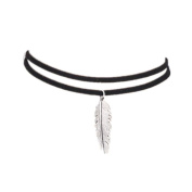 BESTOYARD Feather Necklace Black Velvet Choker Necklace with Silver Leaf Pendant