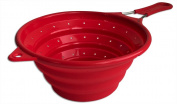 Chef Basics' Collapsible Colander / Strainer with Stainless Steel Handle - Red