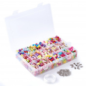 Beadthoven 1 set Children's DIY Colourful Acrylic Beads Jewellery Sets Accessories Early Education Toys 7.5~24x5~31.5x3~9.5mm Mixed Colour