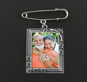 Rose Vine Rectangle Wedding Boutonniere Memorial Photo Charm w/ Pin Set For Groom Father or Mother Of the Bride Brooch Groomsmen