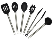Nouvelle Legende Black Silicone Kitchen Cooking Utensil Set Stainless Steel Durable Heat Resistant Non-Stick Hygienic Multi Use BPA Free, 6 Pieces