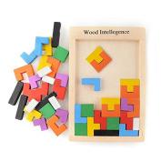 Ingooood Wooden Toys Tangram Brain Teaser Kids Toy Tetris Game Educational Muti-Colour Wooden Puzzle Toys