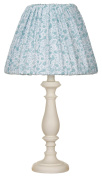 Glenna Jean Cottage Collection Willow White Lamp with Aqua Print Shade