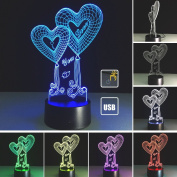 Birthday Gift 3D Illusion Table Lamp 7 Colour Changed Love LED Night Lamp Decoration Room LED Creative Lamps Baby Night Lights Touch switch