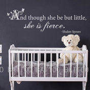 BATTOO And Though She Be But Little She Is Fierce Wall Decal Shakespeare Quote Baby Girl Nursery Quote Vinyl Wall Quote
