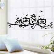 JUNKE 1 Pcs Cartoon lovely Owl Butterfly Art Vinyl Wallpaper Removable Wall Sticker Decal Mural Home Room Decor