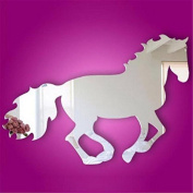 AxiEr Wall Sticker Galloping Horse DIY Mirror Wall Clock Wall Stickerl Art For Kids Home Living Room House Bedroom Bathroom Kitchen Office Home Decoration
