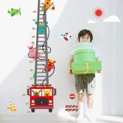Wallpark Cute Rabbit Fireman Cartoon Fire Truck Height Sticker, Growth Height Chart Measuring Removable Wall Decal, Children Kids Baby Home Room Nursery DIY Decorative Adhesive Art Wall Mural