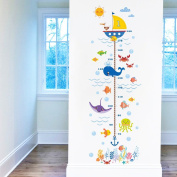 Wallpark Underwater World Cartoon Seaweed Coral Shark Bubble Boat Height Sticker, Growth Height Chart Measuring Removable Wall Decal, Children Kids Baby Room Nursery DIY Decorative Wall Mural