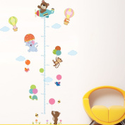 Wallpark Cute Happy Bear Monkey Elephant Hot Air Balloon Airplain Height Sticker, Growth Height Chart Measuring Removable Wall Decal, Children Kids Baby Home Room Nursery DIY Decorative Wall Mural
