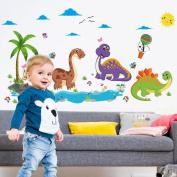 Wallpark Cartoon Dinosaur World Removable Wall Sticker Decal, Children Kids Baby Home Room Nursery DIY Decorative Adhesive Art Wall Mural