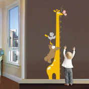 Wallpark Cartoon Cute Bear Giraffe Height Sticker, Growth Height Chart Measuring Removable Wall Decal, Children Kids Baby Home Room Nursery DIY Decorative Adhesive Art Wall Mural