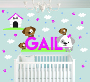 Personalised Name Stars Clouds Home Dogs Animal Series - Baby Girl - Wall Decal Nursery For Home Bedroom Children(726)