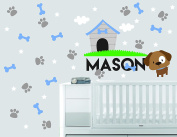 Personalised Name Clouds Stars Home Dog Animal Series - Baby Boy - Wall Decal Nursery For Home Bedroom Children(725)