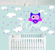 Personalised Name Clouds Stars And Owl Animal Series - Baby Girl - Wall Decal Nursery For Home Bedroom Children(723)