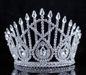Janefashions Drop Clear Austrian Crystal Rhinestone Tiara With Hair Combs Crown Pageant T800