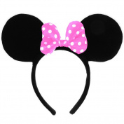 Luismia Mickey Minnie Mouse Ears Costume Bow Accessories Headband for Birthday Party, Theme Park, Concert