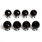 Revesun 6PCS/LOT Diameter 30mm Black Crystal Glass Door Knobs Cabinet Pulls Cupboard Handles Drawer Knobs Wardrobe Home Hardware