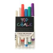 Top Chalk - Professional Liquid Chalk Ink Marker Pens - 6 Pack Fine-Tip