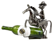 Atlantic Collectibles Western Giddy Up Ranger Cowboy With Horse Hand Made Metal Wine Bottle Holder Caddy Decor 27cm H