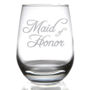 Maid of Honour 440ml Stemless Wine Glass for Wedding Party / Attendant Gift