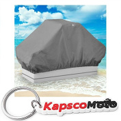 Boat Seat Cover Back to Back Double Seat Storage Cover - 130cm L x 60cm W x 60cm H - Grey Heavy Duty Water, Mildew, and UV Resistant Thick Polyester Fabric + KapscoMoto Keychain