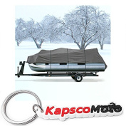 Heavy Duty Waterproof Grey Pontoon Cover Fits Length 5.2m 5.5m 5.8m - Beam Width 240cm Superior Trailerable Pontoon Covers 600 Denier Inboard Outboard Pontoon Covers + KapscoMoto Keychain