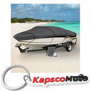Grey Heavy Duty Waterproof Mooring Boat Cover Fits Length 6.1m 6.4m 6.7m Superior Trailerable Boat Covers 600 Denier V-Hull Fishing Ski Boat Pro Bass Inboard Outboard Boat Covers + KapscoMoto Keychain
