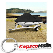 Black Trailerable PWC Personal Watercraft Cover Covers Fits 1-2 Seat Or 290cm - 320cm Length Waverunner, Sea Doo, Jet Ski, Polaris, Yamaha, Kawasaki Covers + KapscoMoto Keychain