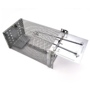 Live Animal Trap 26cm X5.18cm X 12cm Medium Metal 1 Door Rat Cage Trap Catch Release Humane Rodent Cage for Mice,Mouse,Rat,Mole,Weasels Control and More Small Rodents