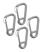 4 Pieces Stainless Steel 316 Spring Hook Carabiner 0.6cm Marine Grade Safety Clip