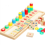TOYMYTOY Wooden Count Match Numbers Educational Counting Toy for Children