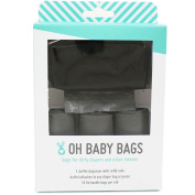 Oh Baby Bags Nappy Bag Clip-On Dispenser Gift Box with Disposable Bags for Dirty Nappies - Recycled Plastic - Black Duffle plus 48 Grey Unscented Bags