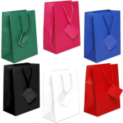 JAM Paper Assorted Medium Matte Gift Bags with Rope Handles and Attached Gift Tags - Red, Blue, Green, Pink, Black, & White - 6/pack